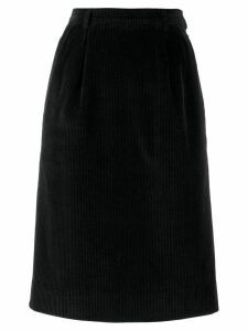 Yves Saint Laurent Pre-Owned 1980's velvet straight skirt - Black