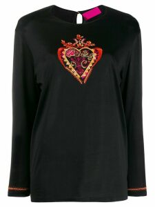 Christian Lacroix Pre-Owned embroidered heart t-shirt - Black