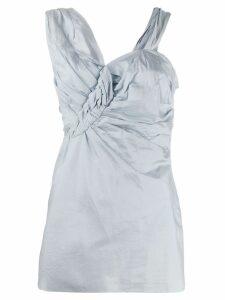 Christian Dior Pre-Owned draped asymmetric blouse - Blue
