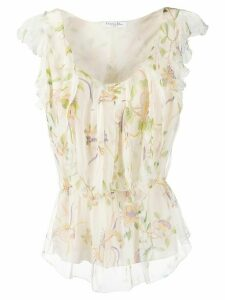 Christian Dior Pre-Owned flower ruffle top - Neutrals
