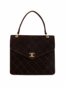 Chanel Pre-Owned velvet diamond quilted tote - Brown