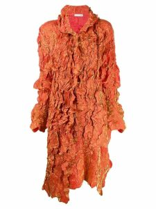 Issey Miyake Pre-Owned ruffled metallic midi coat - Orange