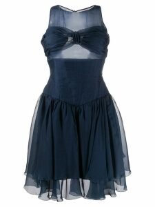 Chanel Pre-Owned gathered bustier dress - Blue