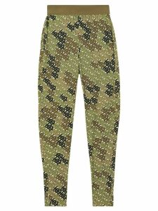 Burberry Monogram Print Stretch Jersey Leggings - Green