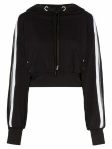 No Ka' Oi metallic stripe cropped hoodie - Black