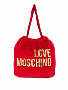 Love Moschino logo printed cotton tote bag - Red
