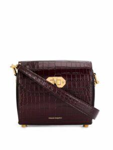 Alexander McQueen crocodile effect foldover top bag - Red