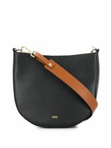 Closed contrasting strap shoulder bag - Black