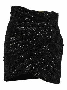 Saint Laurent Sequins Draped Mini Skirt