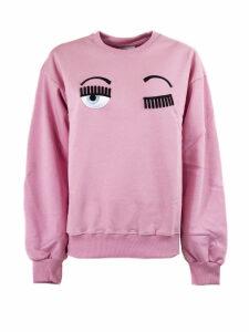 Chiara Ferragni Pink Cotton Flirting Sweatshirt