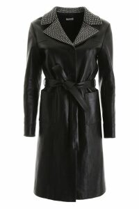 Miu Miu Leather Coat With Crystals
