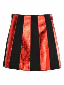 Miu Miu Striped Leather Mini Skirt