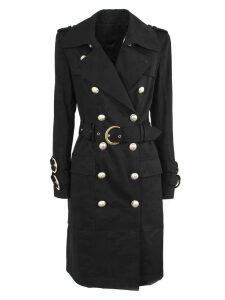 Balmain Long Black Cotton Trench Coat