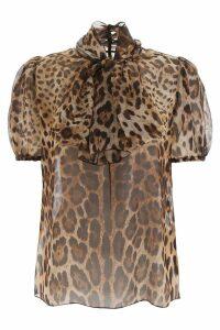 Dolce & Gabbana Leopard Print Organza Blouse