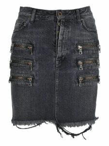 Unravel Zip-detail Distressed Denim Skirt