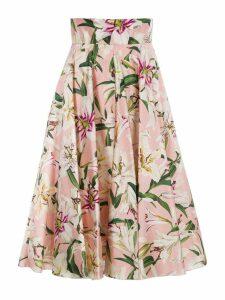 Dolce & gabbana Lily Print Shantung Midi Skirt