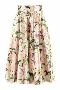 Dolce & Gabbana Floral Print Silk Skirt