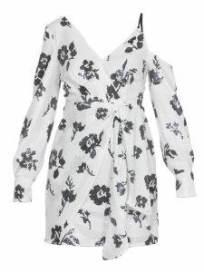 self-portrait Floral Sequin Wrap Dress