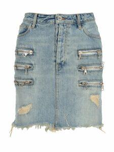 Unravel Bleach Denim Triple Zip Skirt