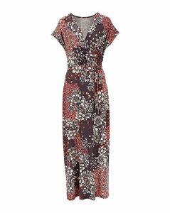 Printed Wrap Front Maxi Dress