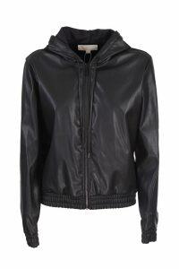 Michael Michael Kors leather look hooded sweatshirt