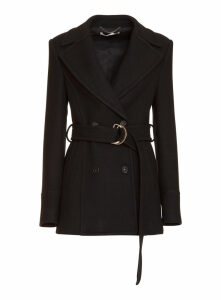 Stella Mccartney Blue Wool Belted Coat