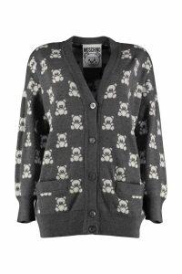 Moschino Teddy Bear Jacquard Knit Cardigan