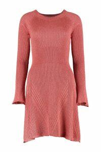 Pinko Tentoni Ribbed Lurex Knit Dress