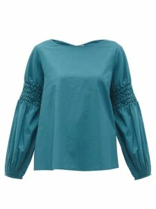 Merlette - Miombo Smocked Sleeve Cotton Poplin Blouse - Womens - Blue