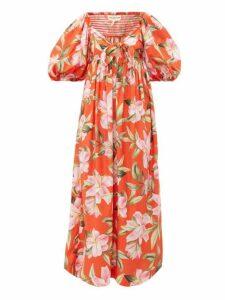 Mara Hoffman - Violet Puff Sleeve Floral Print Cotton Dress - Womens - Red Multi