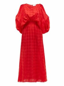 Love Binetti - Cherry Oh Checked Crepe Maxi Dress - Womens - Red