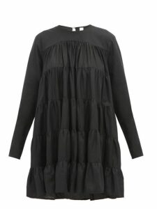 Merlette - Soliman Tiered Cotton Mini Dress - Womens - Black