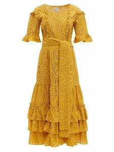 Lisa Marie Fernandez - January Broderie Anglaise Cotton Midi Dress - Womens - Yellow