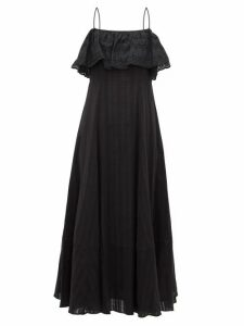 Loup Charmant - Sintra Jacquard Stripe Cotton Dress - Womens - Black