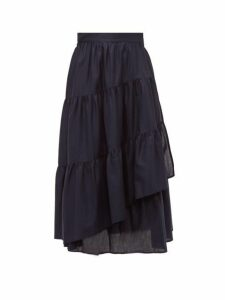Merlette - Hallerbos Tiered Wrap Cotton Lawn Midi Skirt - Womens - Navy