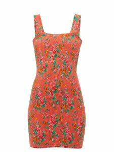 Rhode - Jasmine Floral Print Shirred Cotton Mini Dress - Womens - Red Print