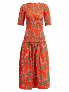 Rhode - Zola Shirred Floral Print Cotton Midi Dress - Womens - Red Print