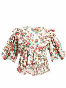 Rhode - Elodie Floral Print Cotton Voile Blouse - Womens - White Print