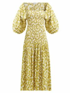 Rhode - Harper Shirred Floral Print Cotton Midi Dress - Womens - Yellow Print