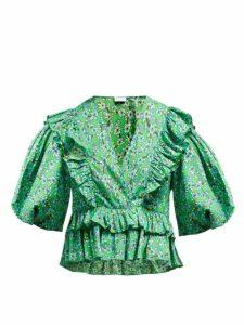 Rhode - Elodie Floral Print Cotton Voile Blouse - Womens - Green Print