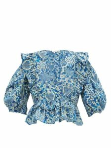 Rhode - Elodie Floral Print Cotton Voile Blouse - Womens - Blue Print