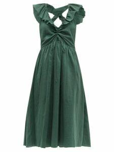 Loup Charmant - Naxos Ruffled Cotton Dress - Womens - Green