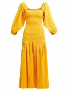 Rhode - Harper Shirred Cotton Gauze Midi Dress - Womens - Yellow