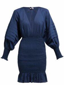 Rhode - Anya Smocked Cotton Poplin Mini Dress - Womens - Navy