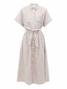 Loup Charmant - Pamlico Striped Cotton Shirt Dress - Womens - White Multi