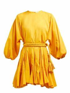 Rhode - Ella Tie-waist Cotton-voile Mini Dress - Womens - Yellow