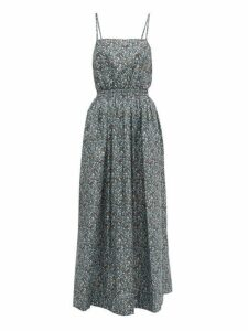 Matteau - Floral Print Cotton Poplin Maxi Dress - Womens - Blue Print