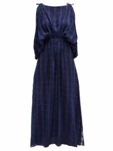 Love Binetti - Draped Checked Voile Maxi Dress - Womens - Dark Blue