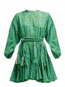 Rhode - Ella Floral Print Cotton Mini Dress - Womens - Green Print