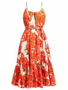 Rhode - Lea Floral Print Tiered Cotton Poplin Dress - Womens - Red White